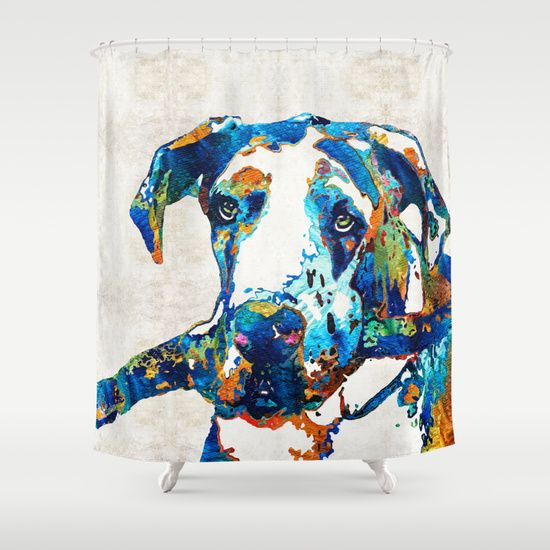 Great Dane Art - Stick With Me - By Sharon Cummings Shower Curtain by Sharon Cummings