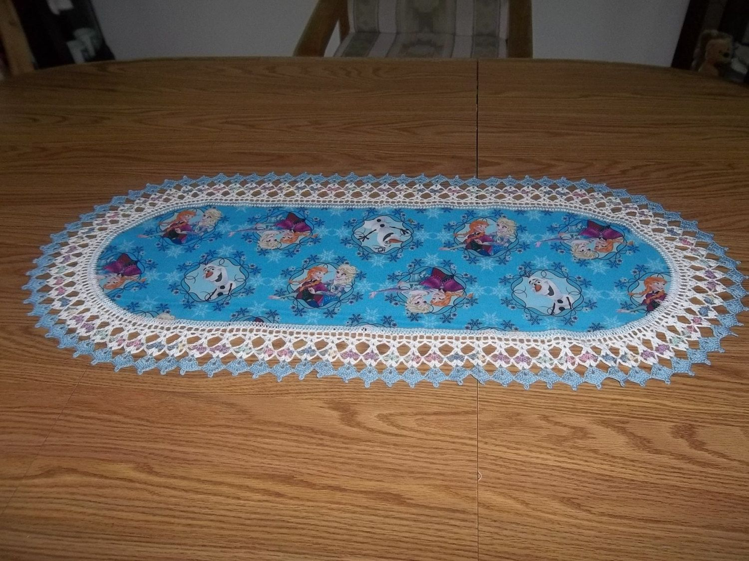 Crocheted Table Runner Dresser Scarf Centerpiece Disney Frozen With Elsa Anna And Olaf Fabric Center