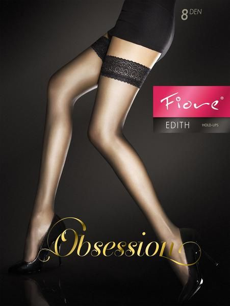 Black Romina stay up stockings by Fiore with gold lace top hold ups Natural