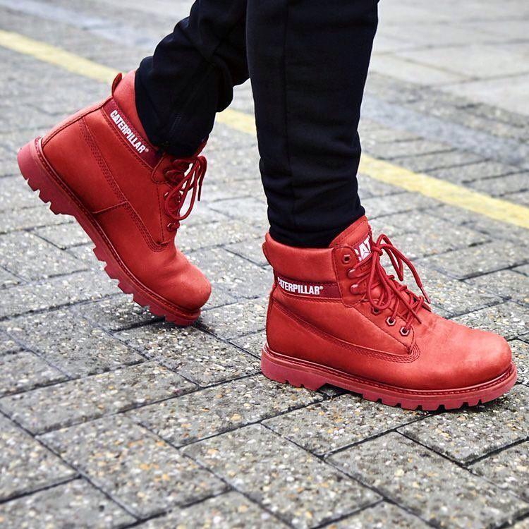 Czerwone Caterpillar Colorado Brights Colorado Cat Caterpillar Brights Redboots Coloradoboots Catboots Autumn Cat Boots Red Boots Red Shoes