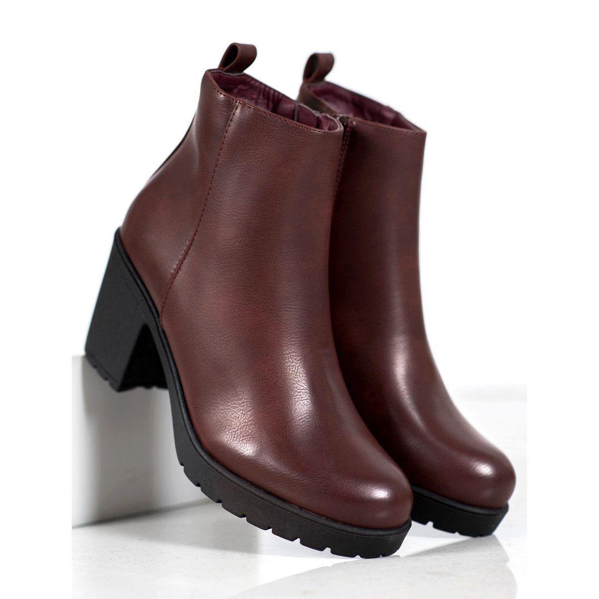 Shelovet Botki Na Platformie Czerwone Boots Boot Shoes Women Wide Heels
