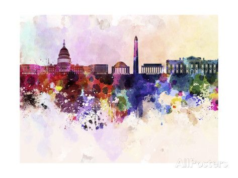Washington Dc Skyline in Watercolor Background Prints by paulrommer at AllPosters.com