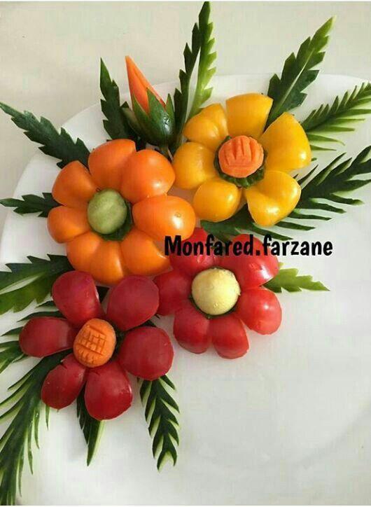 دورچین فلفل دلمه و گوجه Persian Recipes Food Decorations