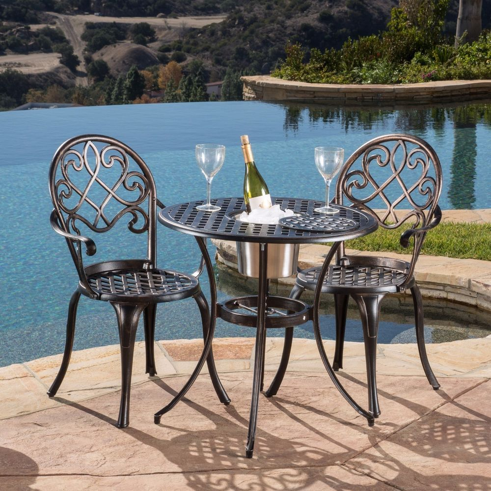Outdoor Patio Bistro Set Table And 2 Chairs W Ice Bucket Outdoor