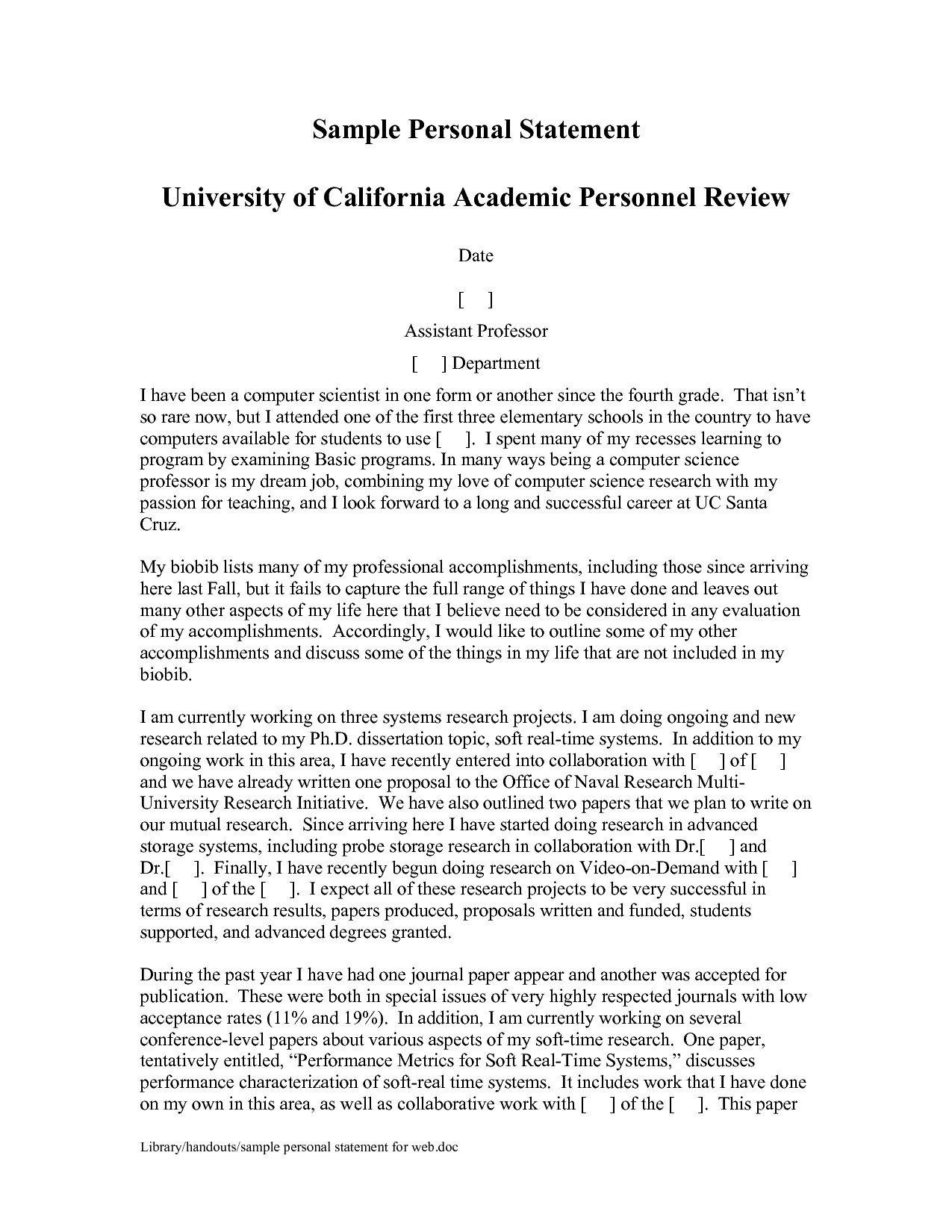 What is a personal statement Computer Science Graduate School Personal Statement Example