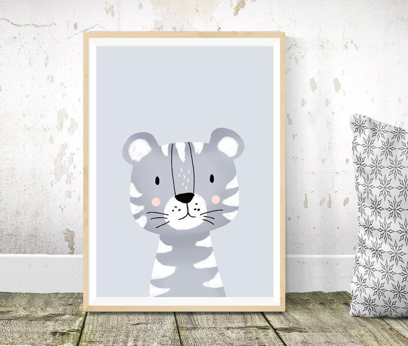 Decoration Chambre Enfant Tigre A4 A5 Cadeau Naissance Bebe