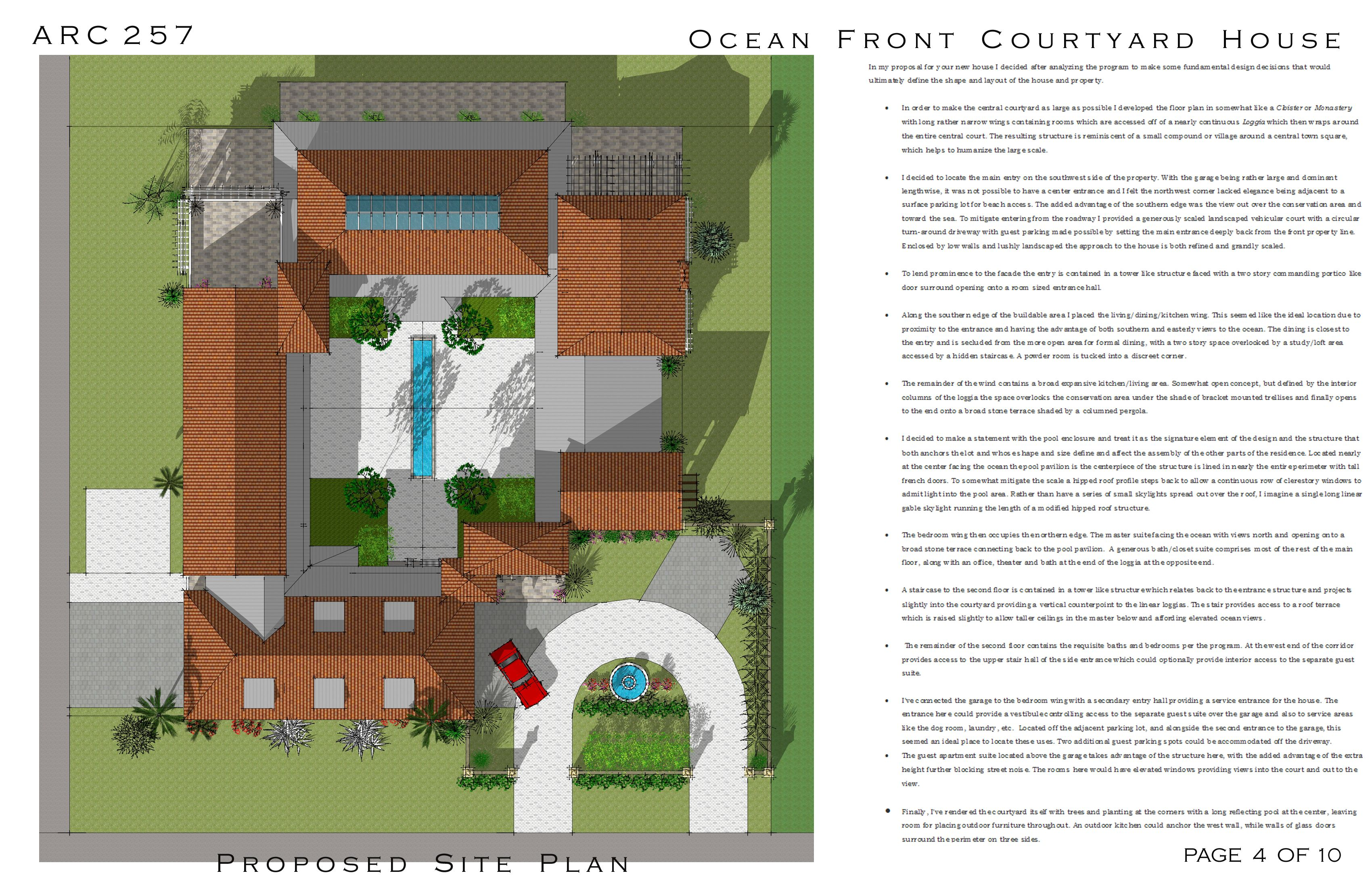 Multi-Story Family Homes project in Cocoa Beach, US designed by Arcadia Design - Oceanfront Courtyard House