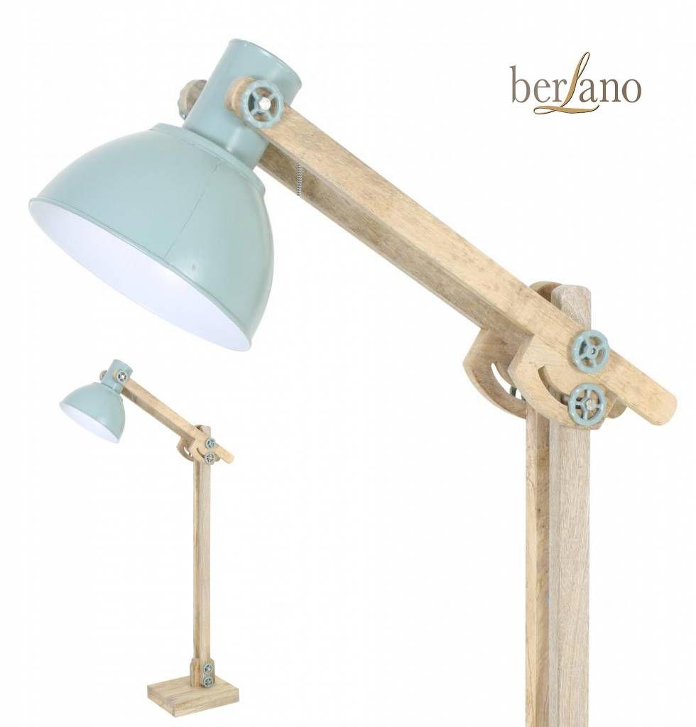 Staande Lamp Vloerlamp Van Naturel Hout Groene Metalen Lampenkap Vloerlamp Lampenkap Hout