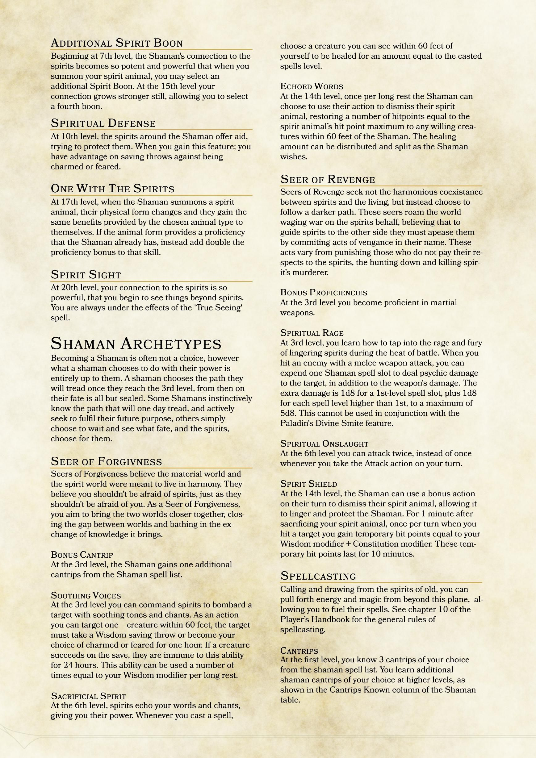 Community Class: Shaman | D&D 5E Homebrew Classes and Races