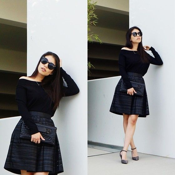Get this look: http://lb.nu/look/7890006  More looks by Josephine E: http://lb.nu/jayeeaych  Items in this look:  Express Top, Banana Republic Skirt, Kurt Geiger Heels, She + Lo Clutch, Polette Sunglasses   #chic #classic #dapper