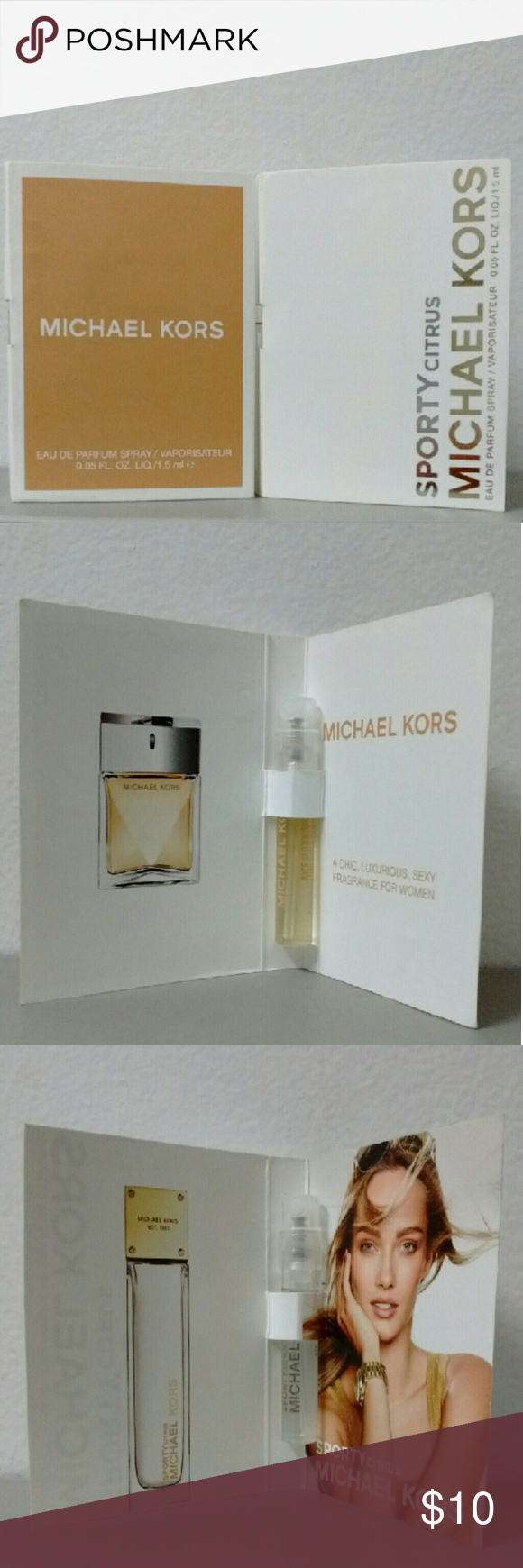 New Michael Kors Perfume Samplers New Michael Kors Sporty Citrus Eau De Parfum 1.5ml/.05oz Eau De Parfum Spray Sample & Michael Kors Michael 1.5ml/.05oz  Eau De Parfum Spray Sample.  Two Totally Different & Amazing Fragrances By MK. Thank You! Michael Kors Makeup