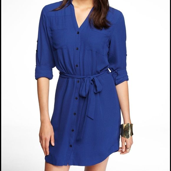 6584d408c8 Royal Blue Express Portofino Shirt Dress XS A beautiful royal blue shirt  dress from the Express Portofino line. Sleeves can be worn down or buttoned  at the ...