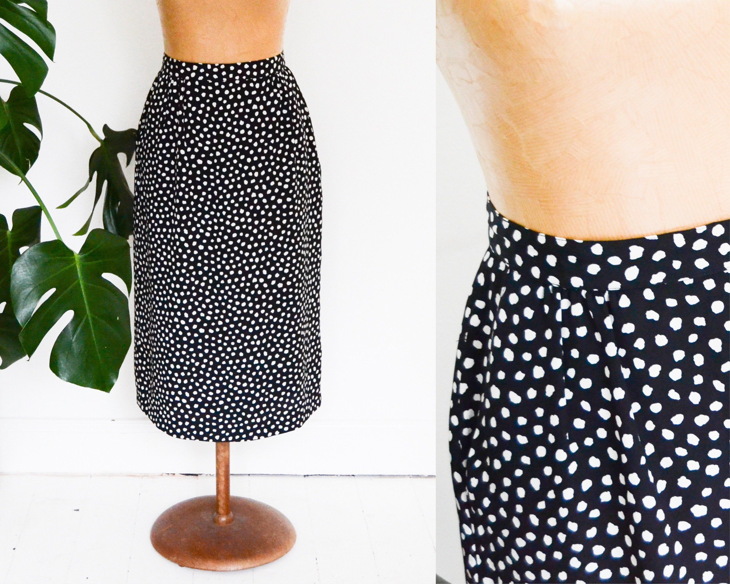 Vintage Polka Dot Pencil Skirt Size 10 Black And White Skirt