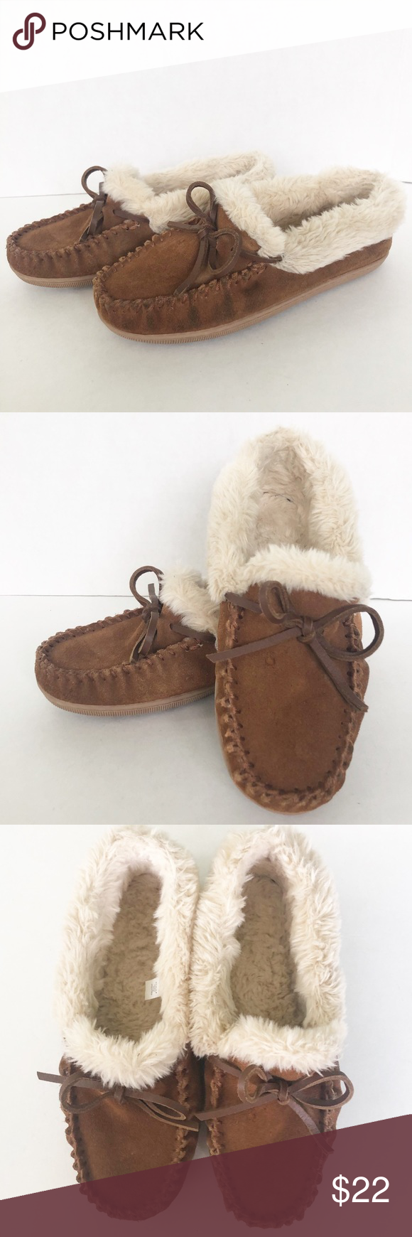 J. Crew Suede Shearling Slippers with