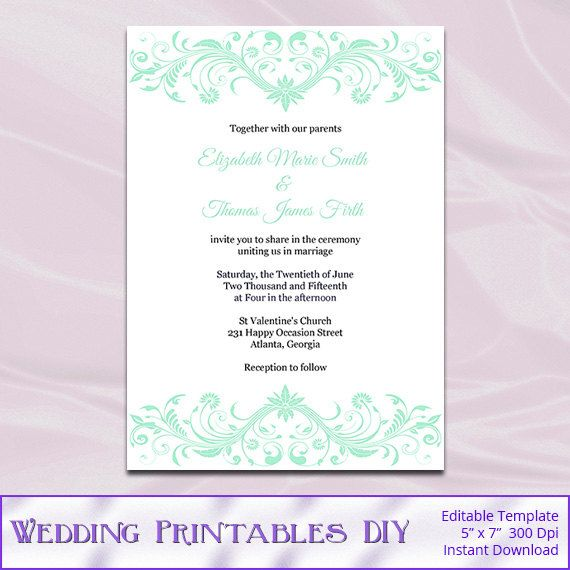 Mint Wedding Invitation Templates DIY Printable Light Green And - Wedding invitation templates: silver wedding invitations templates