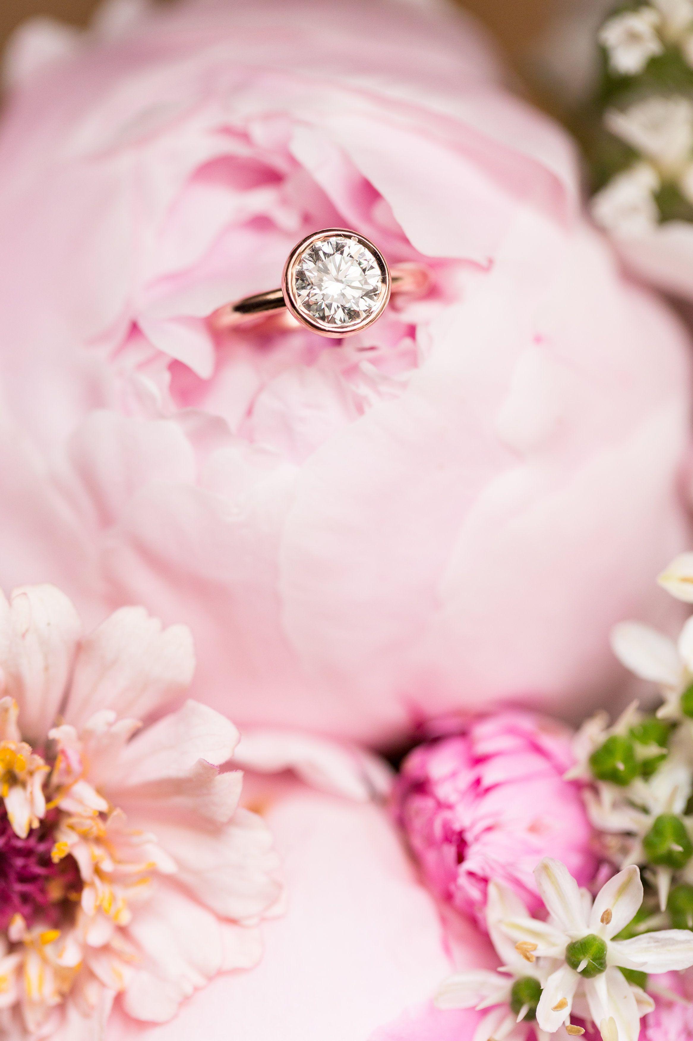 ANNE LEE PHOTOGRAPHY| DESIGNER GOLD Rose Gold Bezel-Set Engagement ...