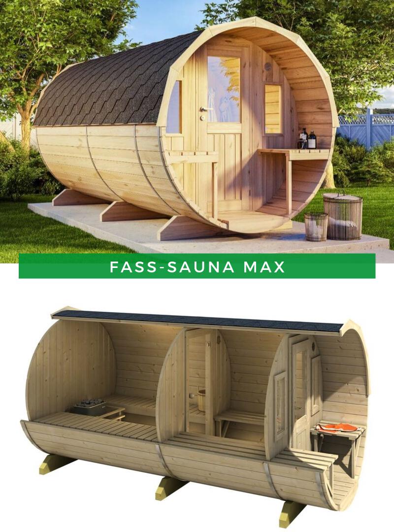 Fasssauna Im Garten Finntherm Fass Sauna Max Fasssauna Sauna Saunaliegen