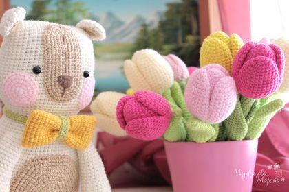 """Вязание ручной работы. Мастер-класс """"Тюльпан"""". Марина Чучкалова. Ярмарка Мастеров. Мастер-класс, весенние цветы, Вязаный цветок"""