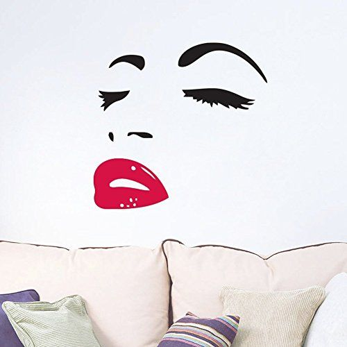 Marilyn Monroe Red Lip Removable Wall Stickers Vinyl Decal Mural Home Decor