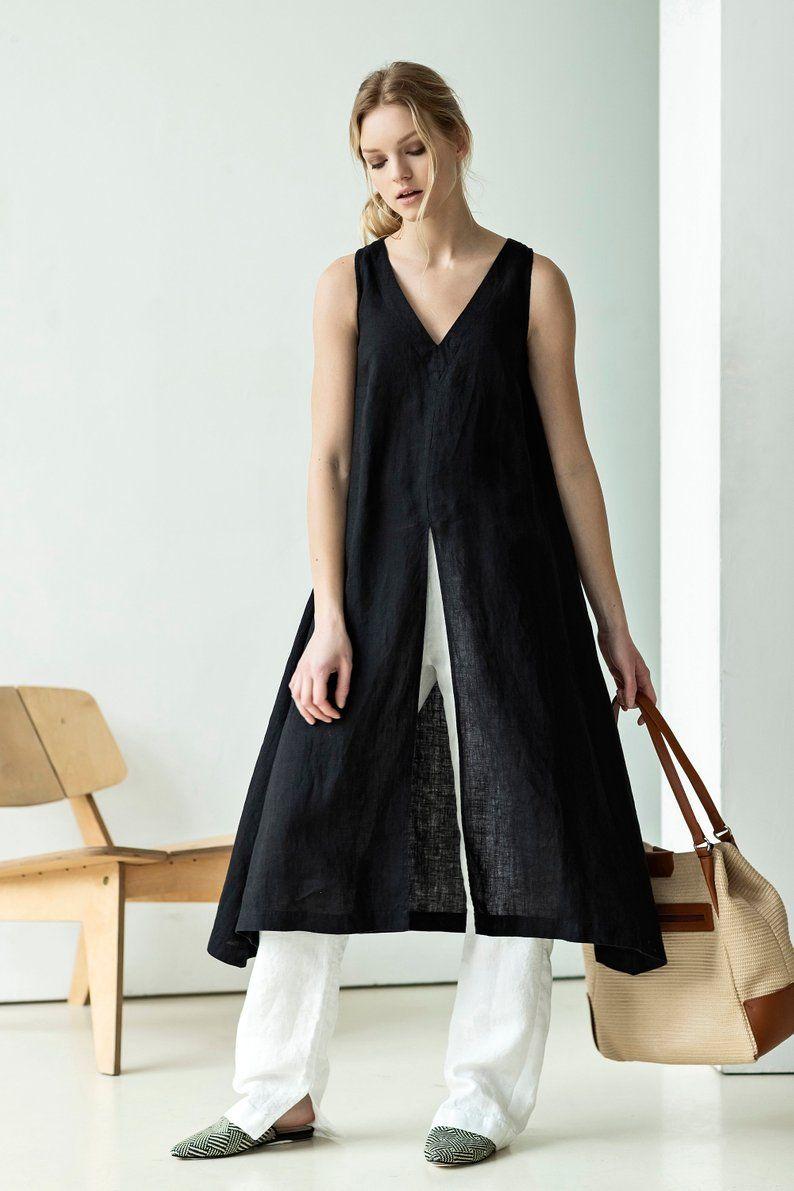 5113a372 Black linen tunic dress. Sleeveless V neck dress. Linen summer tunic.  Looking for