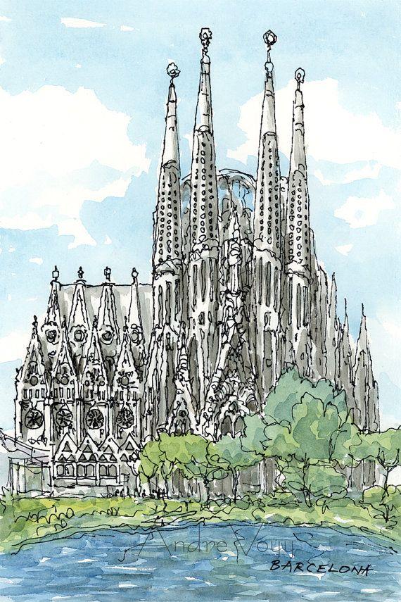Impresin de un Acuarela original de arte Sagrada Familia de