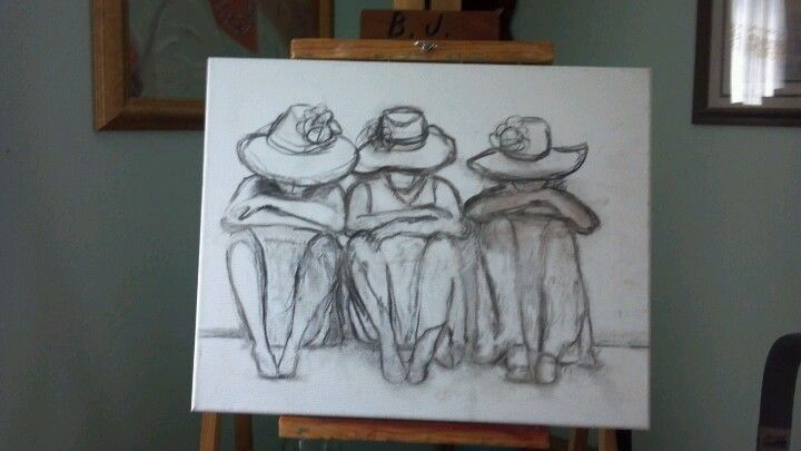 Drawing of sisters #1charcoal...by BJMcCauley