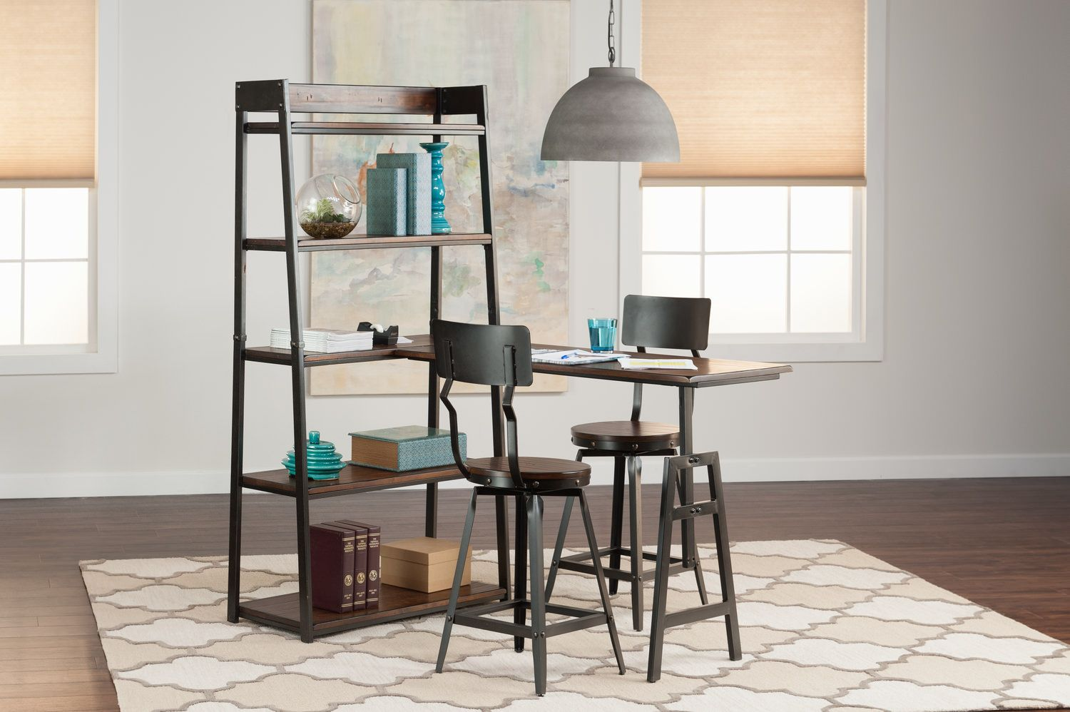 Pembroke Open Shelf With Peninsula And 2 Counterstools | HOM Furniture | Furniture  Stores In Minneapolis