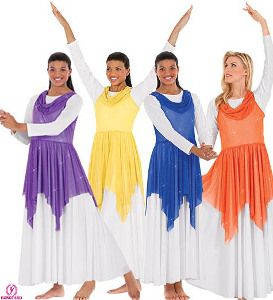 Shimmer Draped Neck Tunic At Movement Connection Praise Dance Dresses Liturgical Dance Worship Dance Outfits