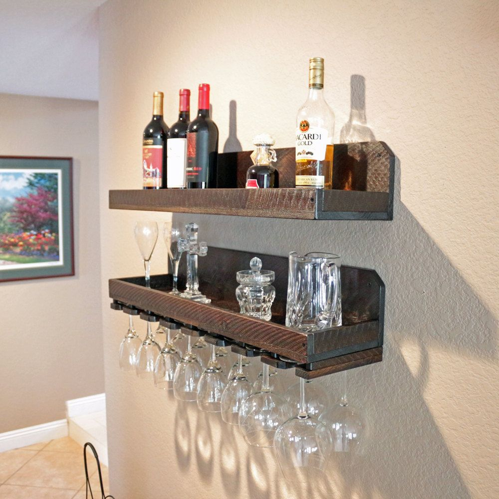32 Rustic Wood Wine Rack Shelf Stemware Glass Holder Unique
