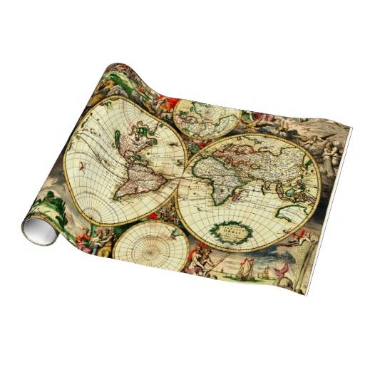 Old world map 1689 antique travel artwork gift wrap paper unique old world map 1689 antique travel artwork gift wrap paper gumiabroncs Image collections