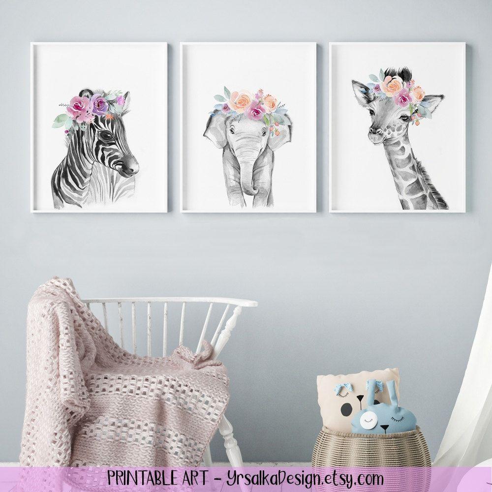 Black White Jungle Animals Girl Nursery Wall Art Zebra Elephant Giraffe Printable Safari Animals Watercolor Art Wall Decor 8x10 Set of 3 images