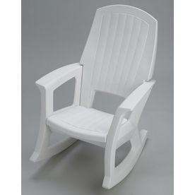 White Plastic Patio Rocking Chair Semw Outdoor