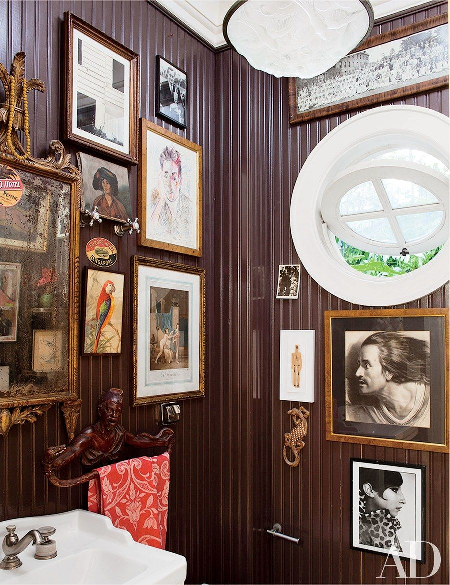 The Powder Room In Designer Sig Bergamin S São Paulo Home Features Walls Of Framed Art