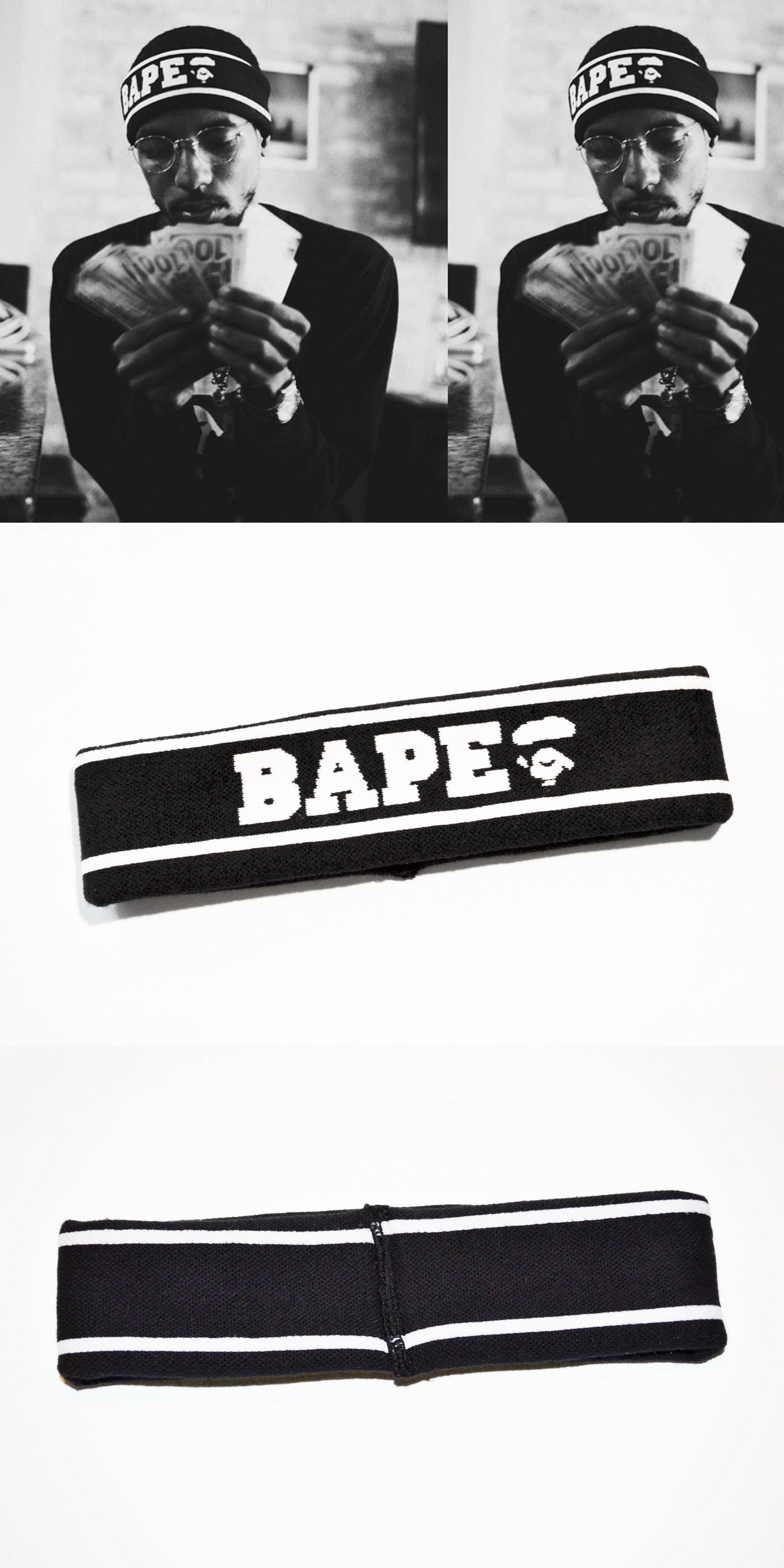 Other Mens Accessories 1060  A Bathing Ape Bape Black Headband Supreme -   BUY IT NOW ONLY   43.99 on eBay! 907c803a7bc