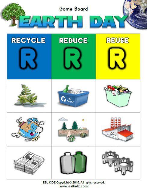 Recycle, Reduce, Reuse Matching Bingo Game https://www.teacherspayteachers.com/Store/Esl-Kidz ...