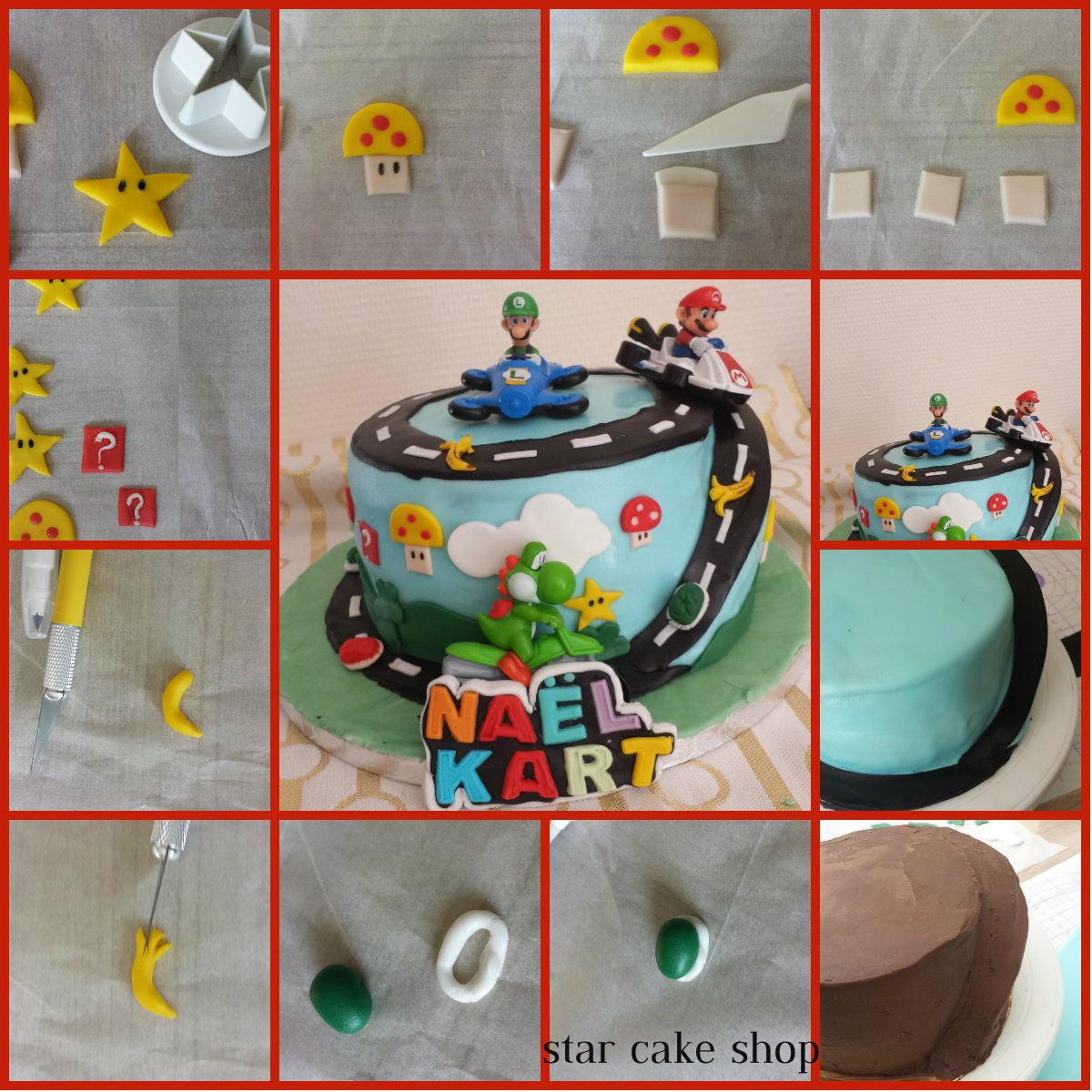 tuto g teau mario kart star cake shop g teau p te sucre et autres pinterest gateau. Black Bedroom Furniture Sets. Home Design Ideas