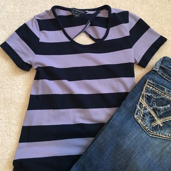 French Connection Striped Tee Fitted tee with cute cut out in the back. French Connection Tops Tees - Short Sleeve