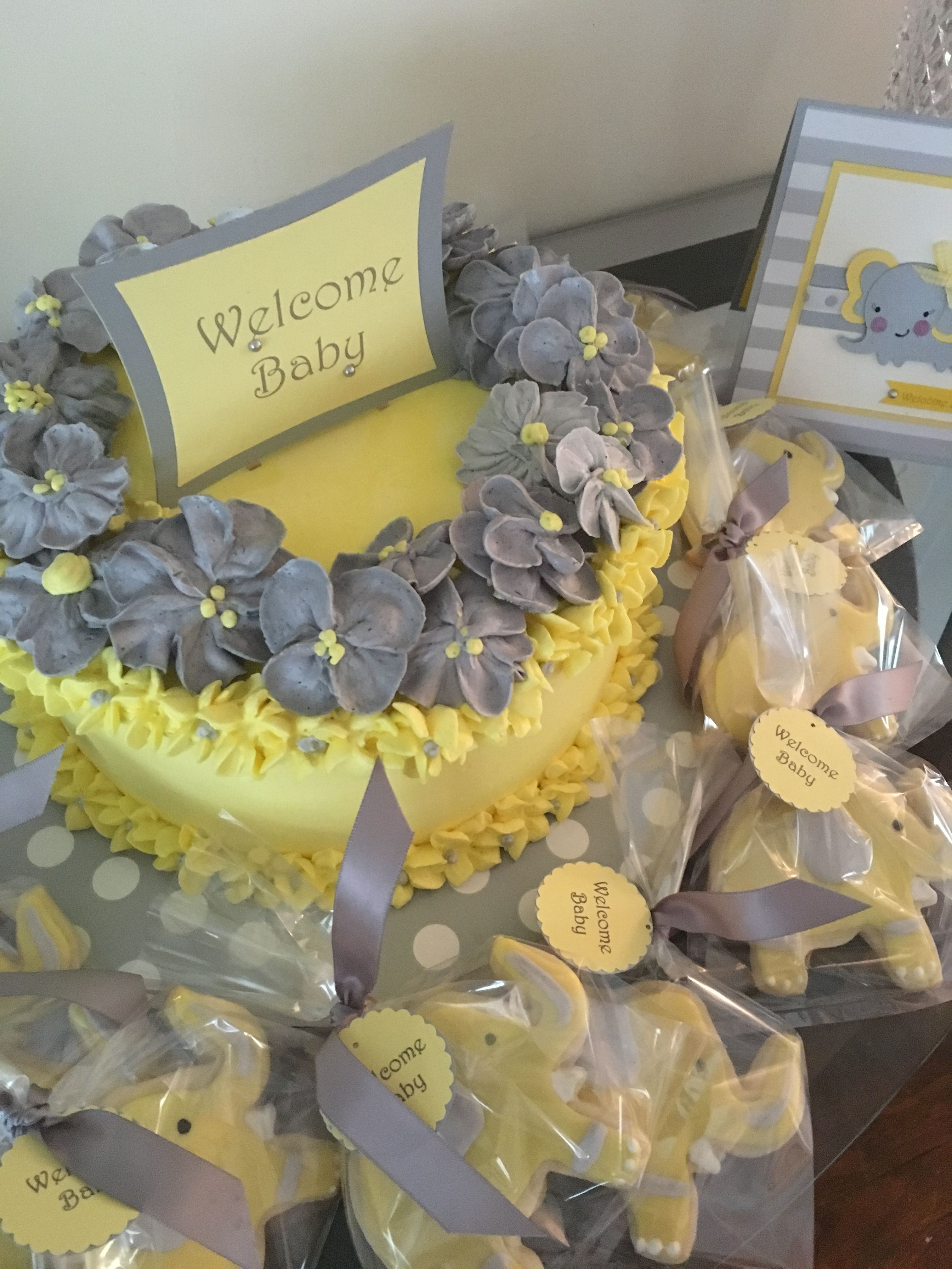 Yellow and gray baby shower invitation, cookies & cake