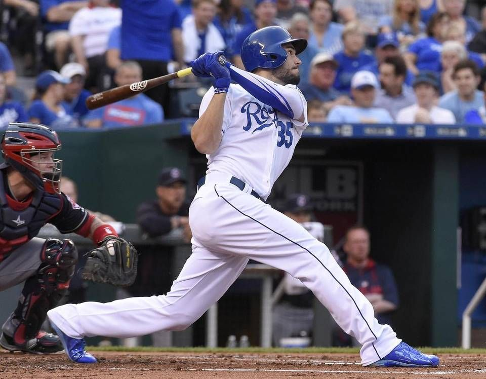 Kansas City Royals First Baseman Eric Hosmer 35 Follows Through On A Three Run