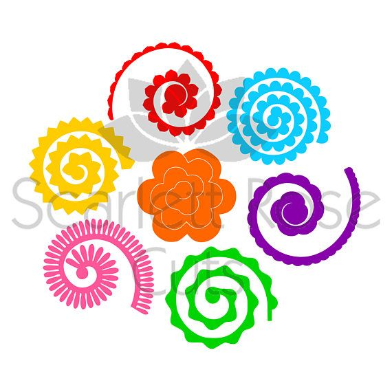 Rolled Paper Flowers D Template Svg Cut File For Silhouette  Hoa