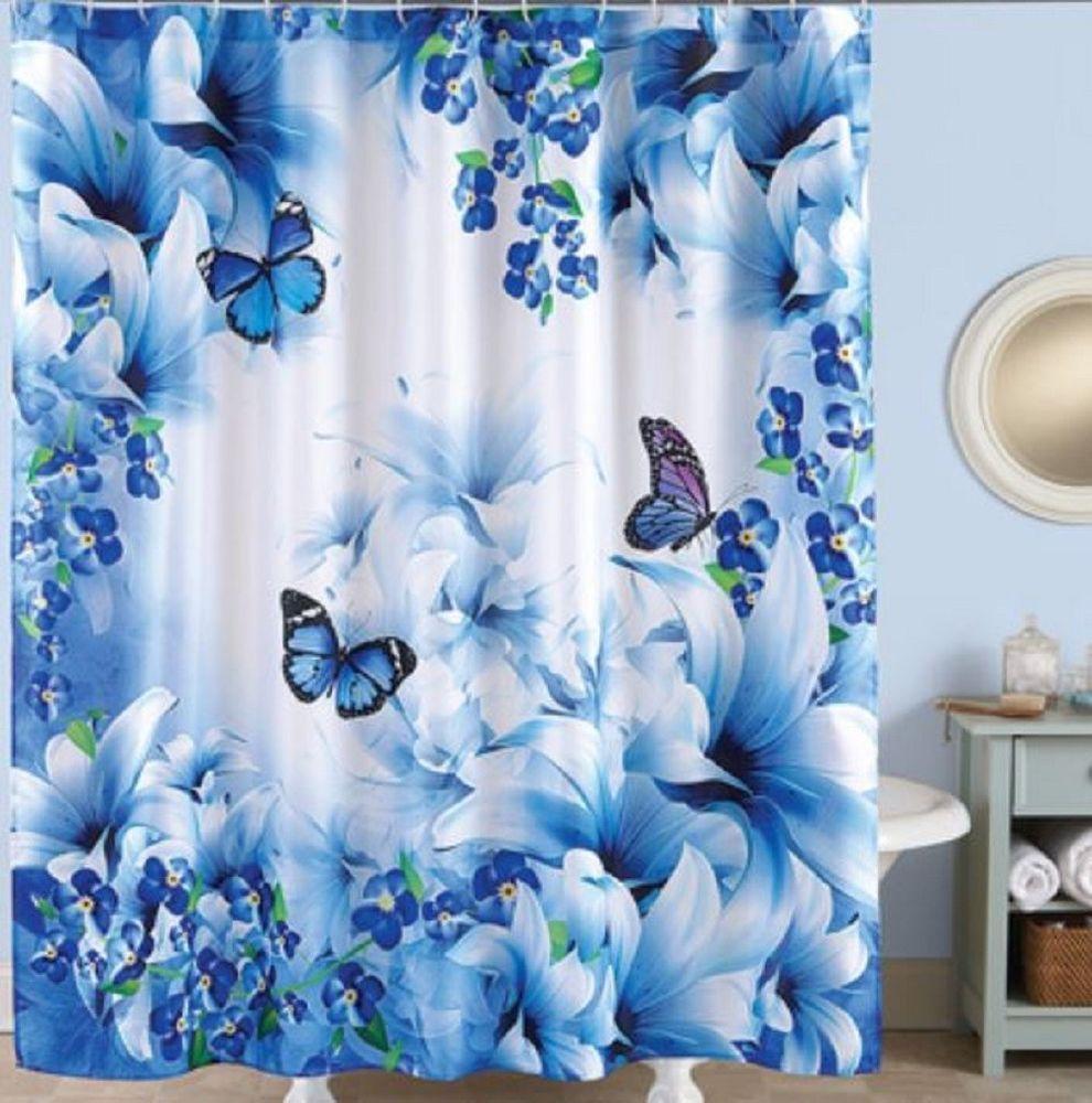 Butterfly Shower Curtain Blue Purple Butterflies Old Fashioned