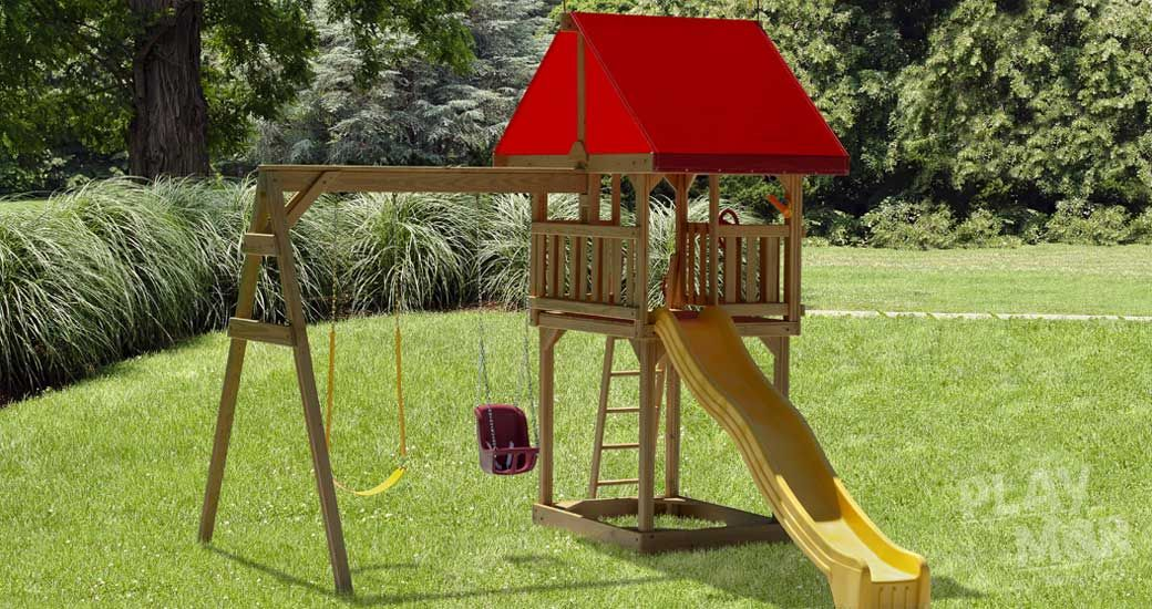 Tiny Treasures Kid's Wooden Swing Sets Backyard playset