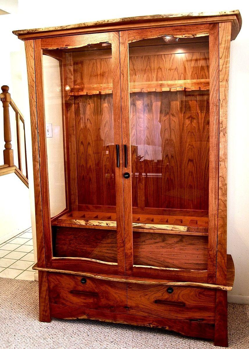 Custom Made Mesquite Cherry Gun Cabinet