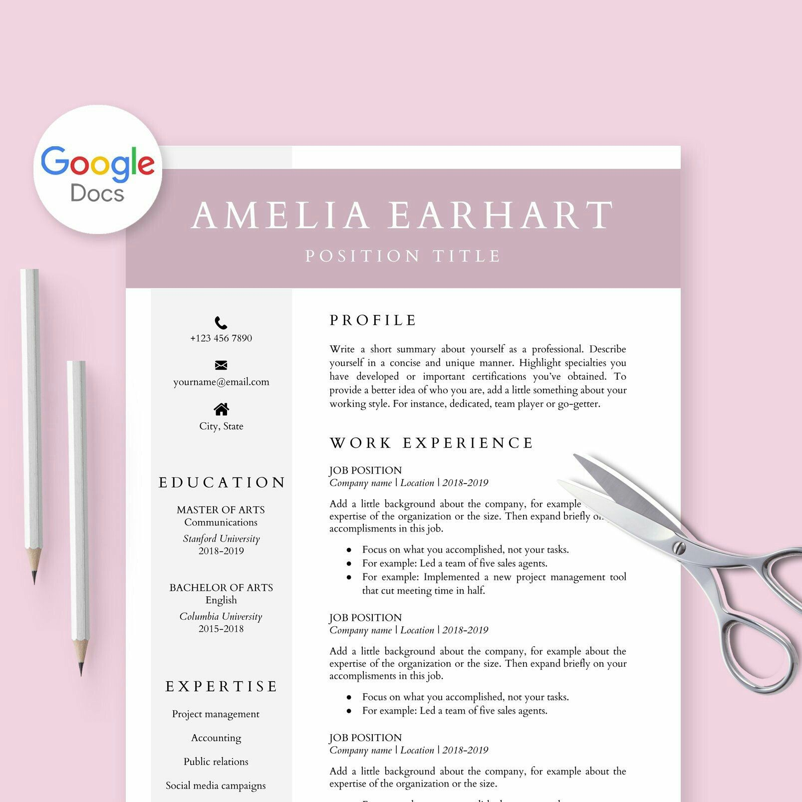 Resume Template for Google Docs, Cv Template Google Doc