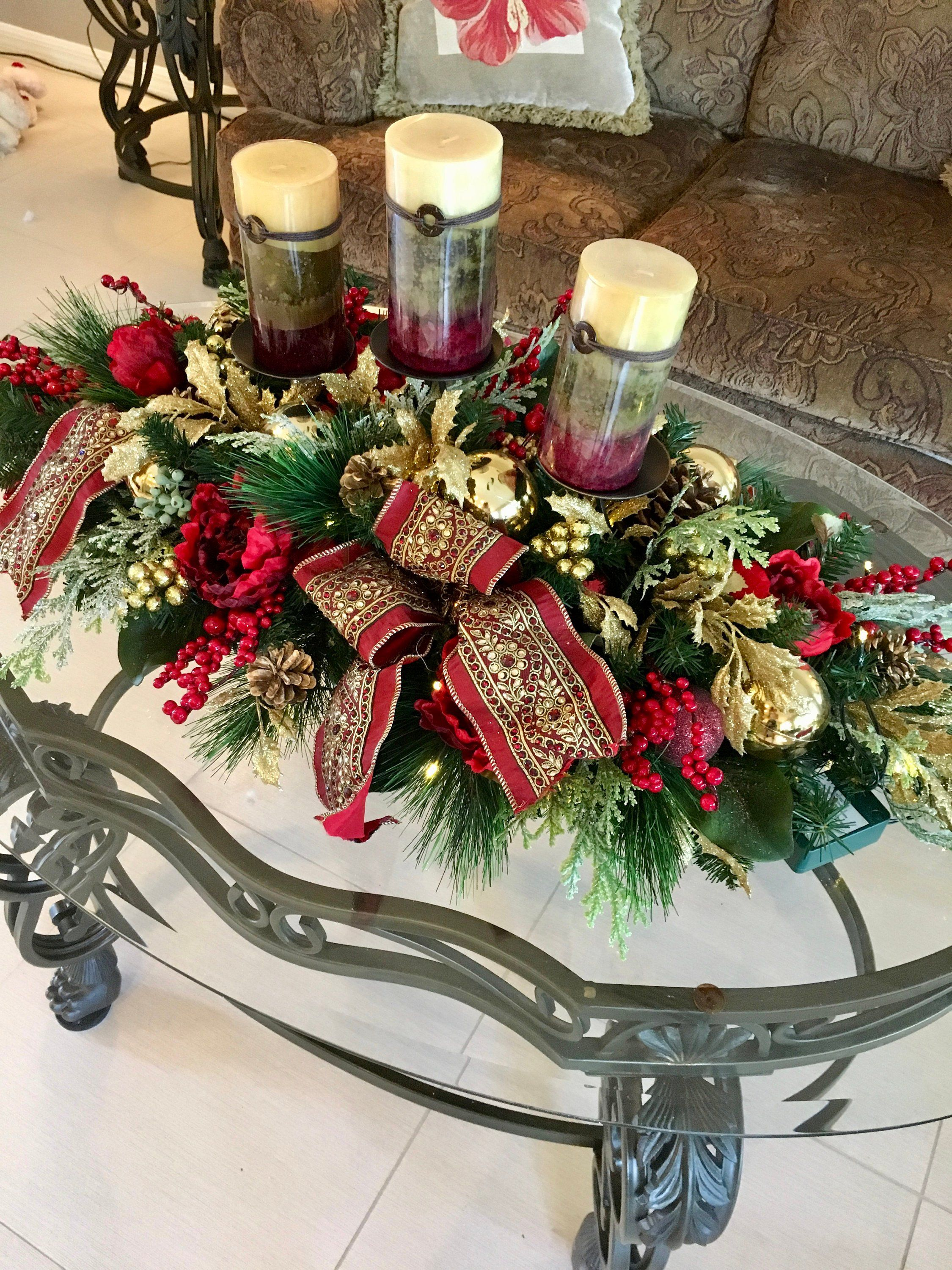 On Sale Luxury Large Centerpiece Free Shippingpeony Etsy Christmas Floral Arrangements Christmas Table Decorations Christmas Candle