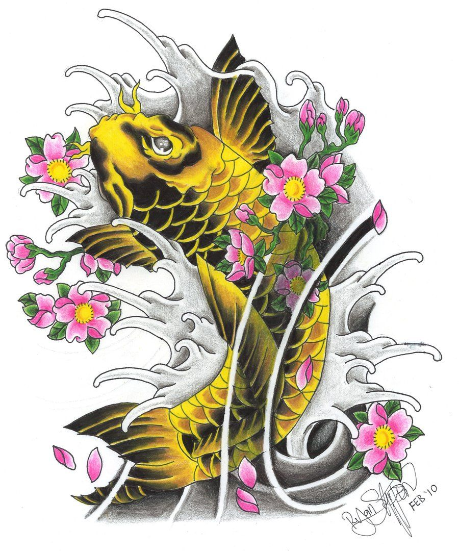 Another Koi With Sakura By Ryanschipper89 On Deviantart Cherry Blossom Tattoo Blossom Tattoo Koi Fish Tattoo