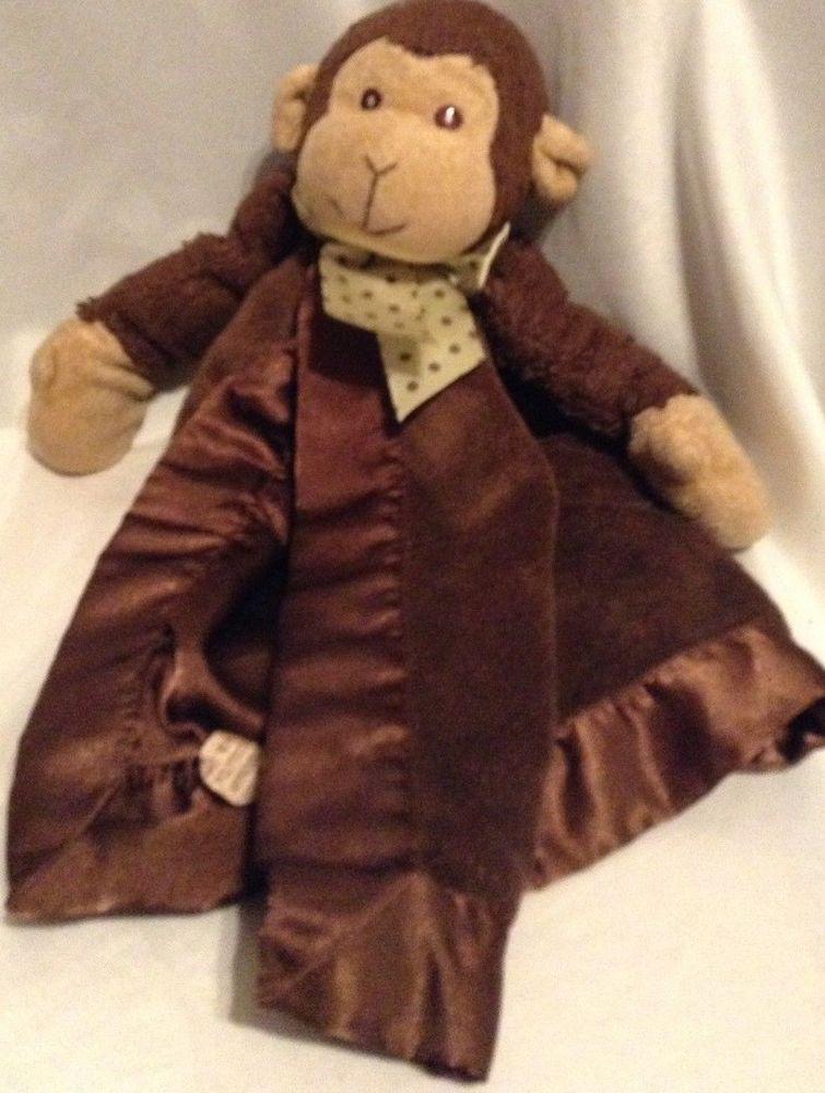 bearington baby monkey lovey security blanket brown satin plush rh pinterest com