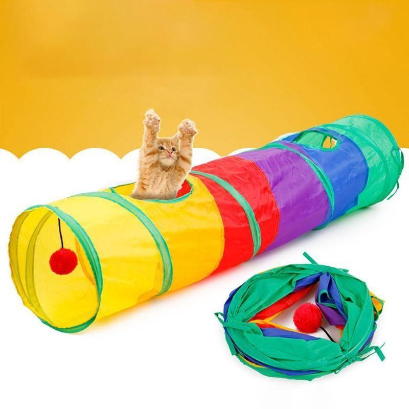 2 3 5 Holes Foldable Pet Cat Tunnel Toys Kitten Rabbit Indoor Outdoor Hanging Ball Training Toys Play Tunnel Tubes Cat Supplie Pet Cat Toys Cat Tunnel Pet Toys