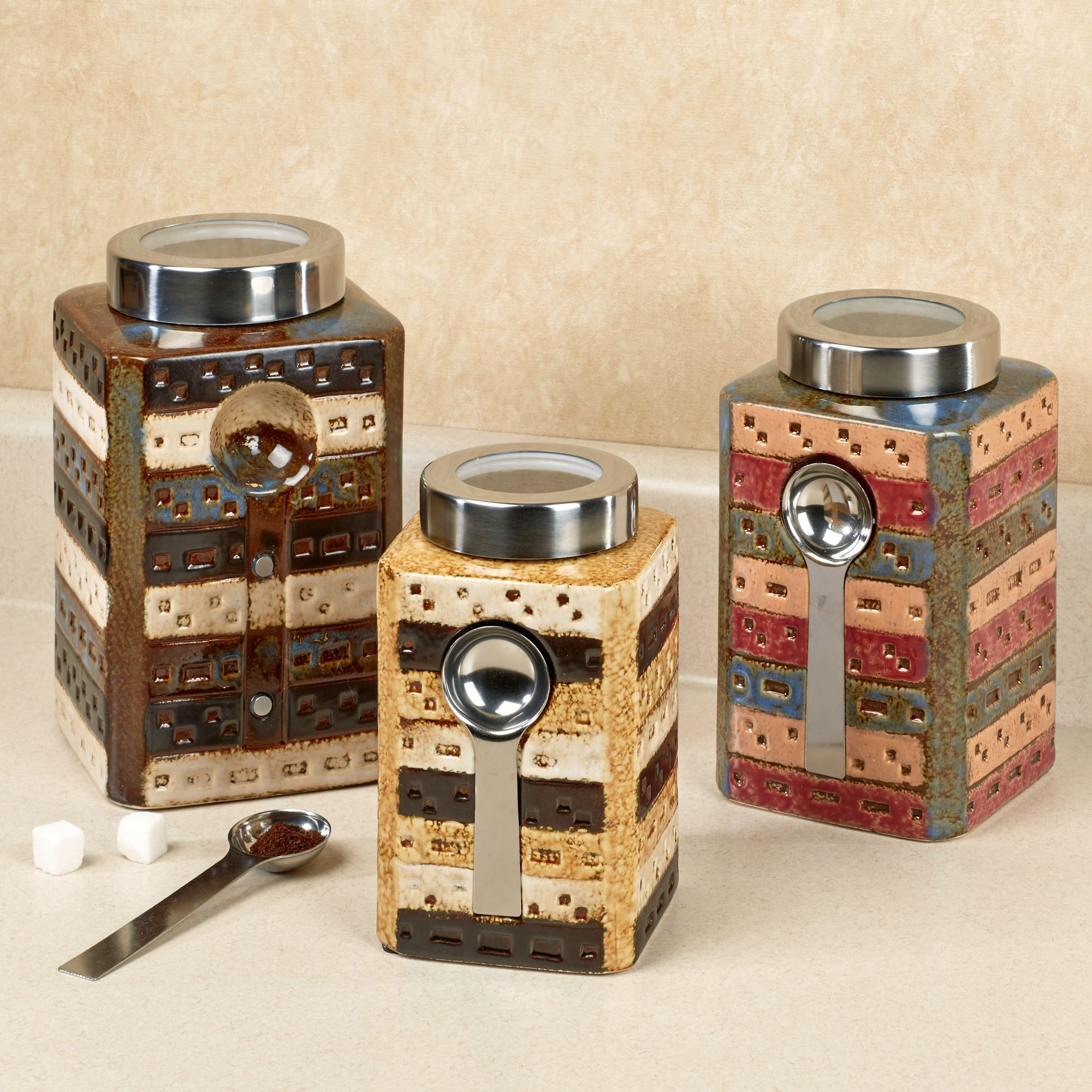 Rustic Kitchen Canister Sets Matteo Ceramic Kitchen Canister Sets With Spoon For Kitchen