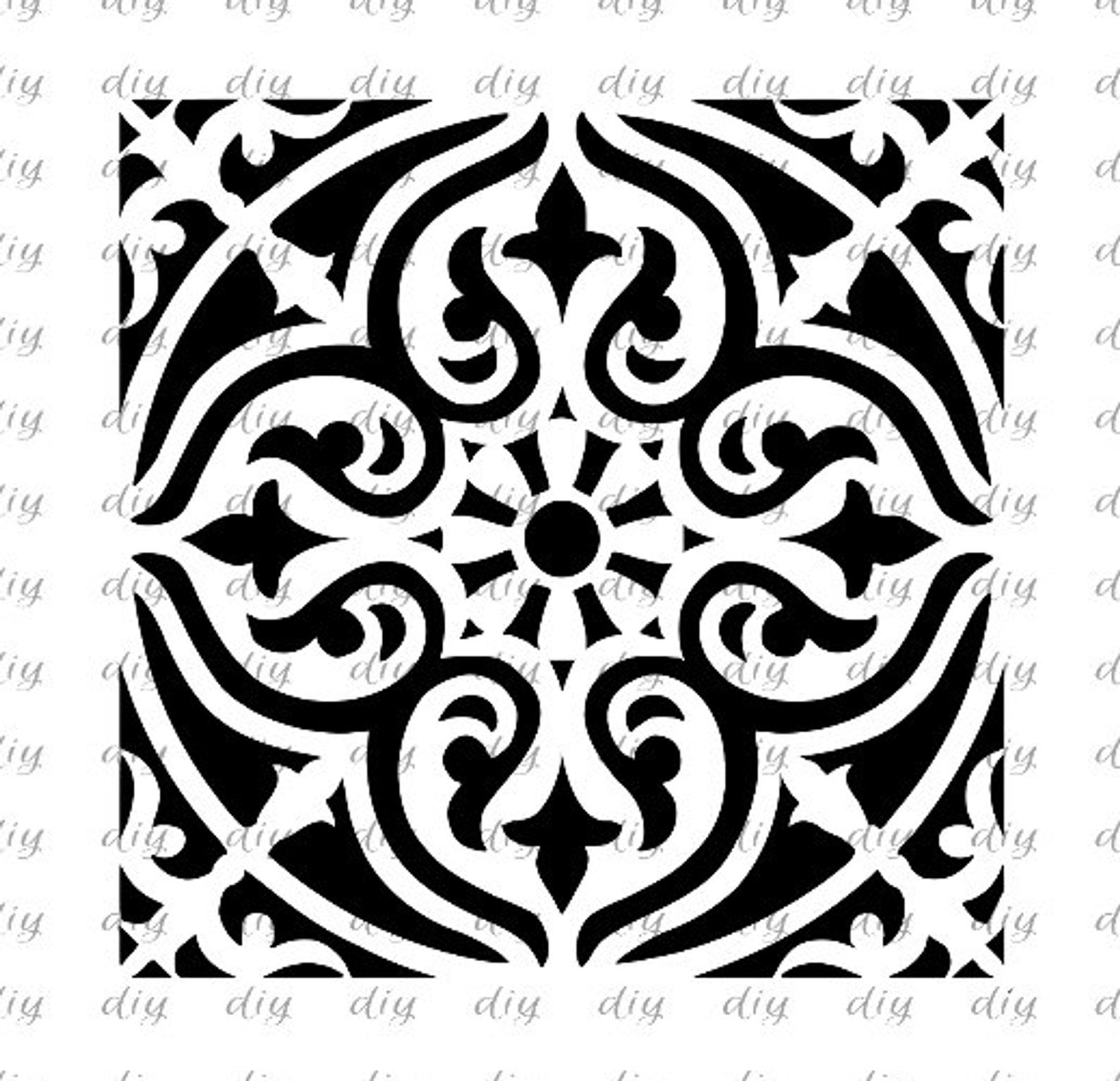 Tile Pattern Stencil Pillow Stencil Pattern Stencil